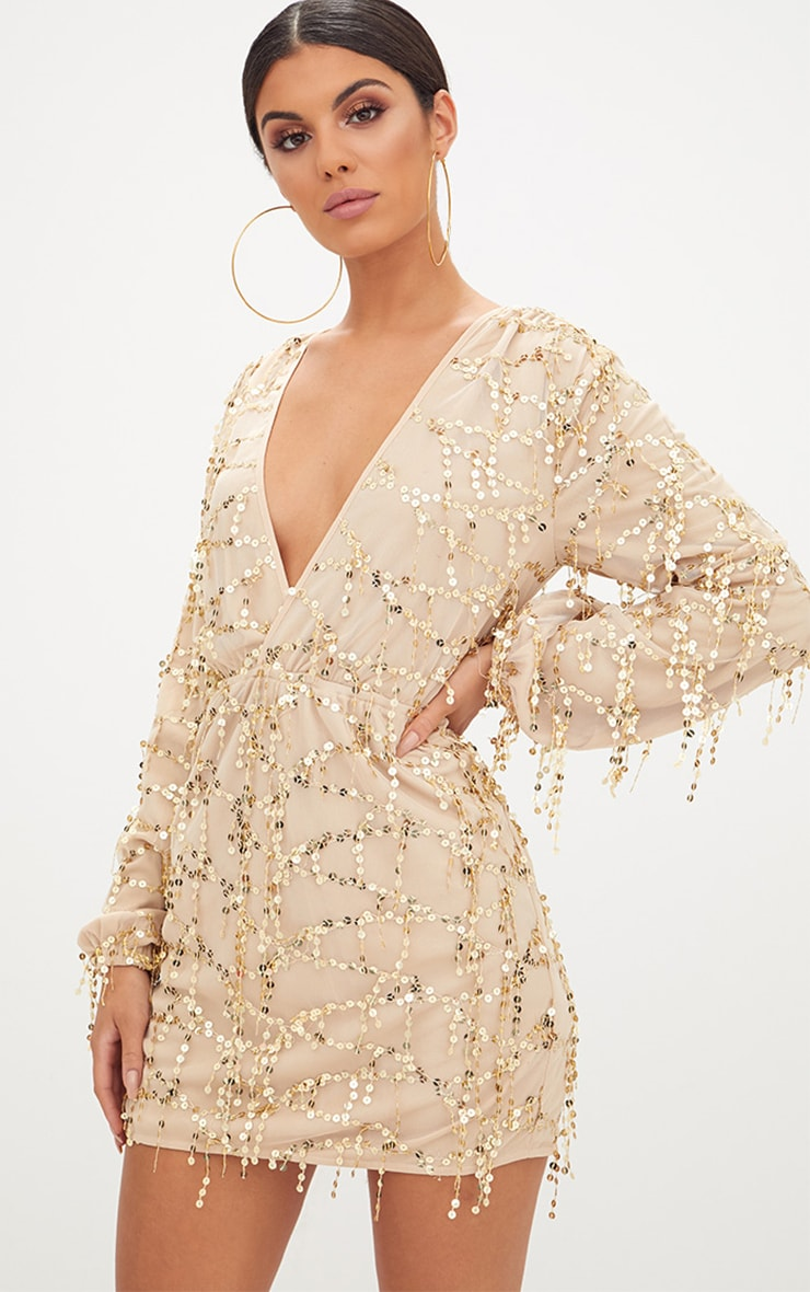 Gold Plunge Sequin Long Sleeve Bodycon Dress 1