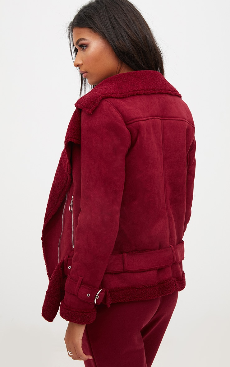 Burgundy Ring Pull Faux Suede Aviator Coat 2