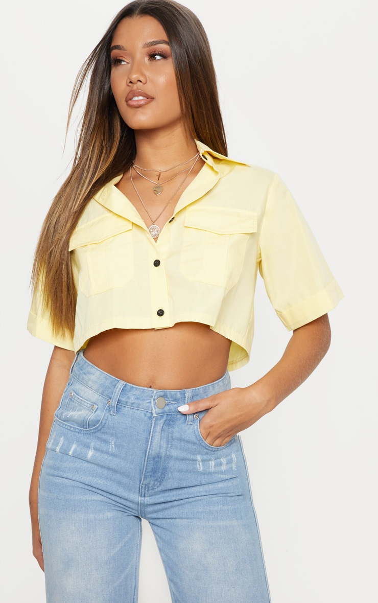 Lemon Boxy Pocket Front Crop Shirt