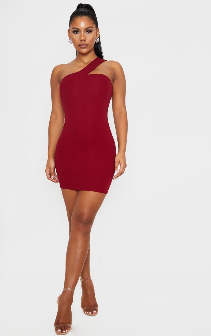 Burgundy One Shoulder  Strap Bodycon Dress 4