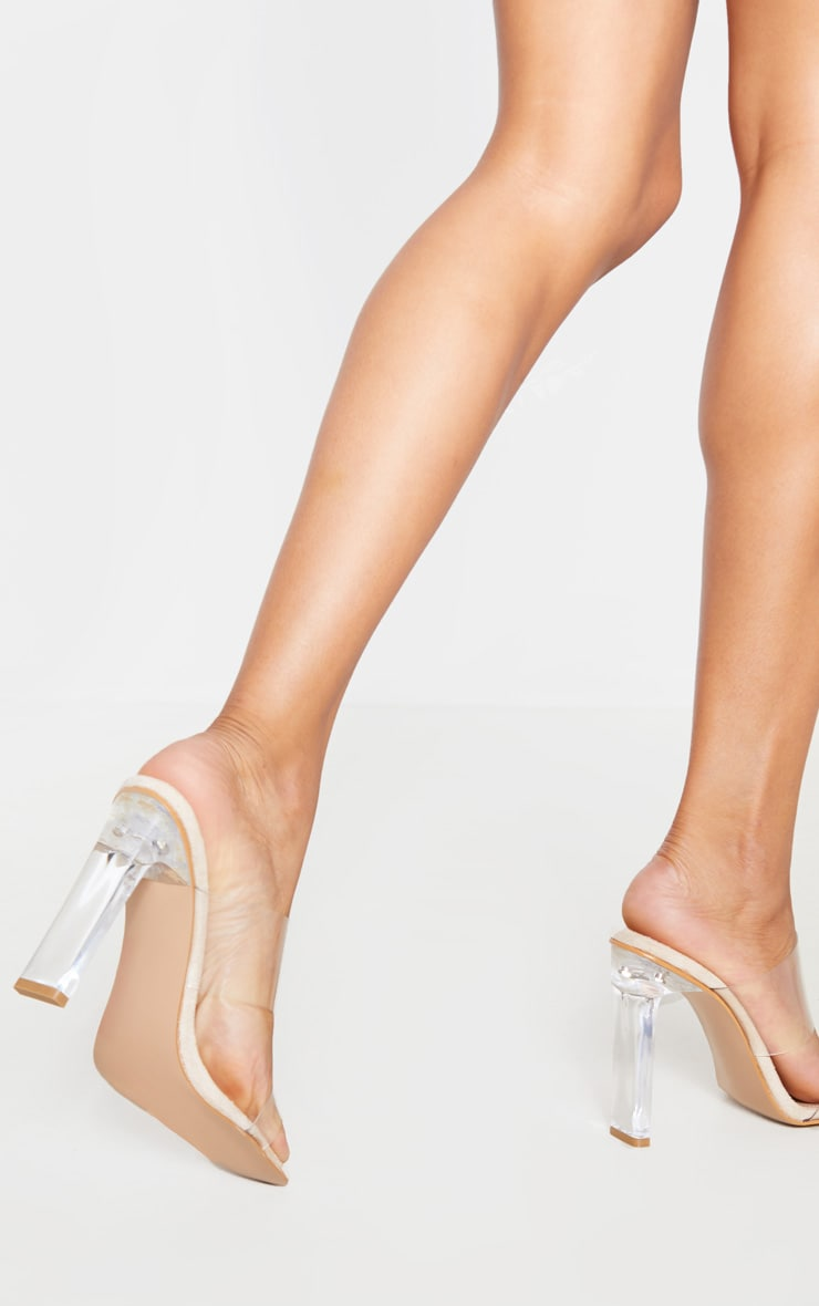 Nude Clear Heel Twin Strap Clear Mule 3