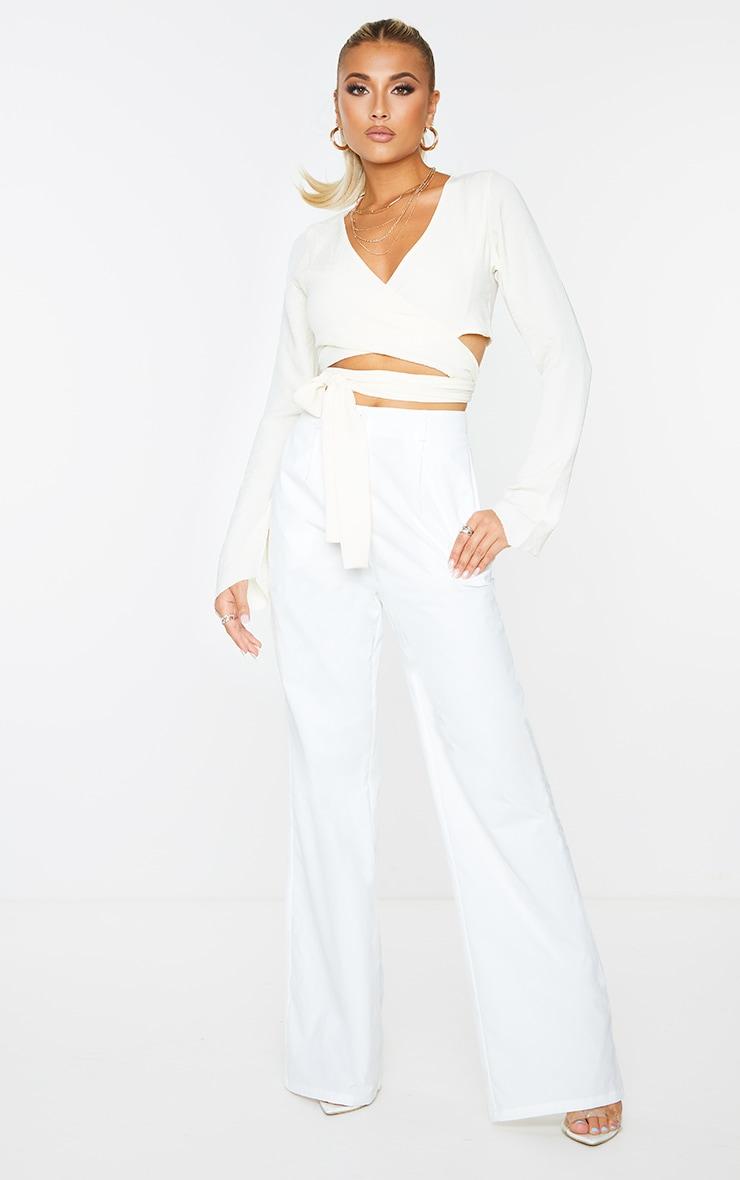Cream Woven Wrap Over Long Sleeve Top 3