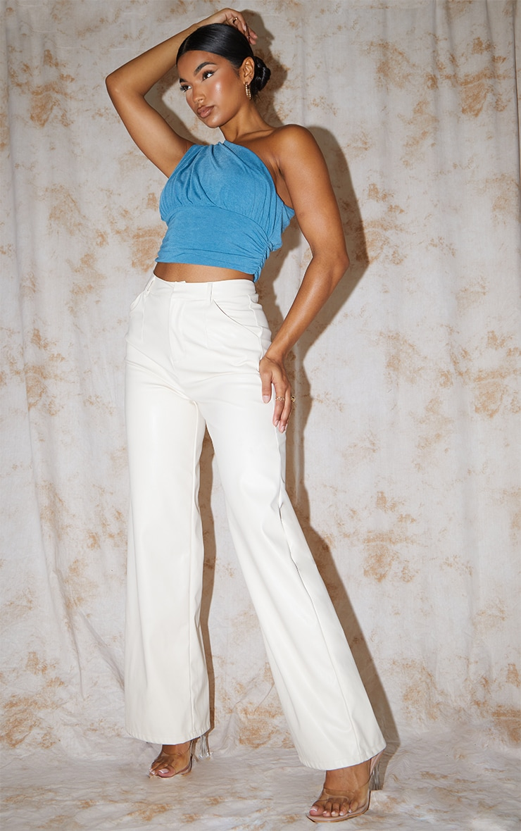 Recycled Blue Contour Jersey Ruched One Shoulder Crop Top 3