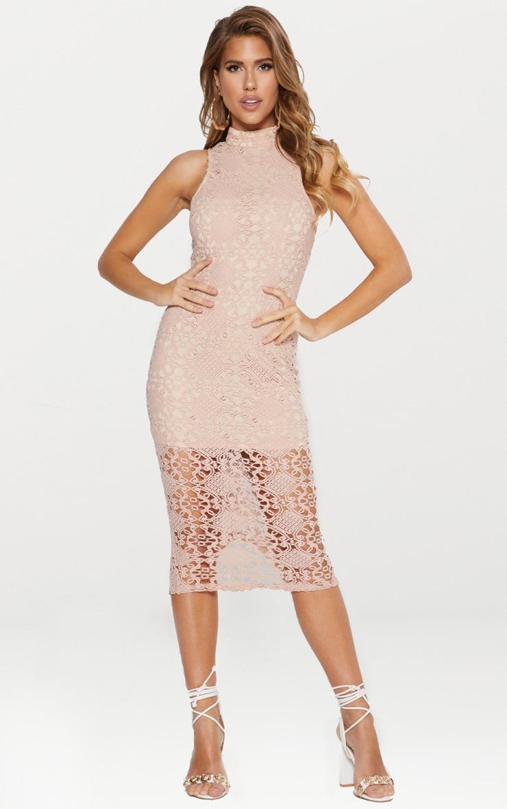 Dusty Pink High Neck Lace Midi Dress 1