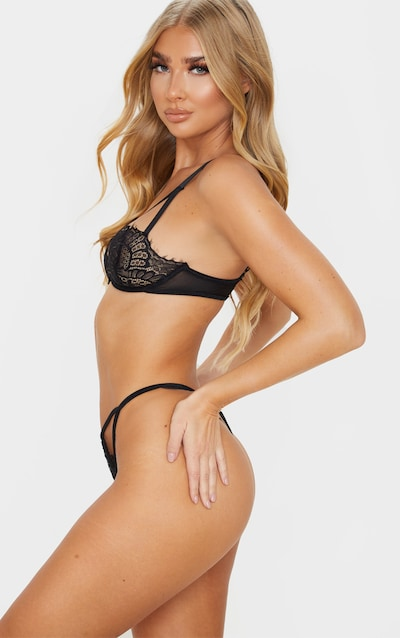 Black Cut Out Lace Thong