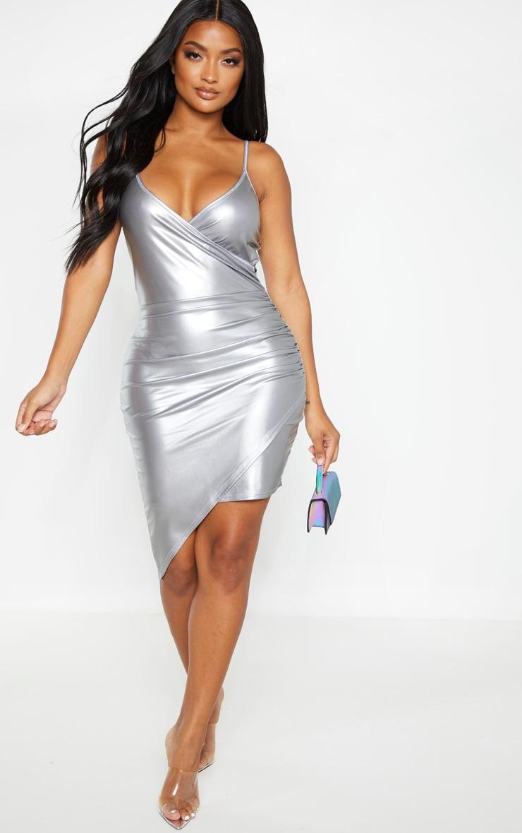 Shape Silver Metallic Strappy Wrap Bodycon Dress