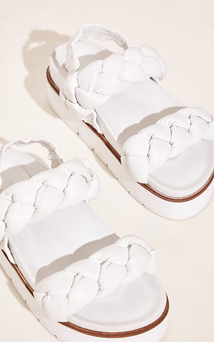 White Real Leather Platted Twin Strap Flatform Footbed Sandals 4