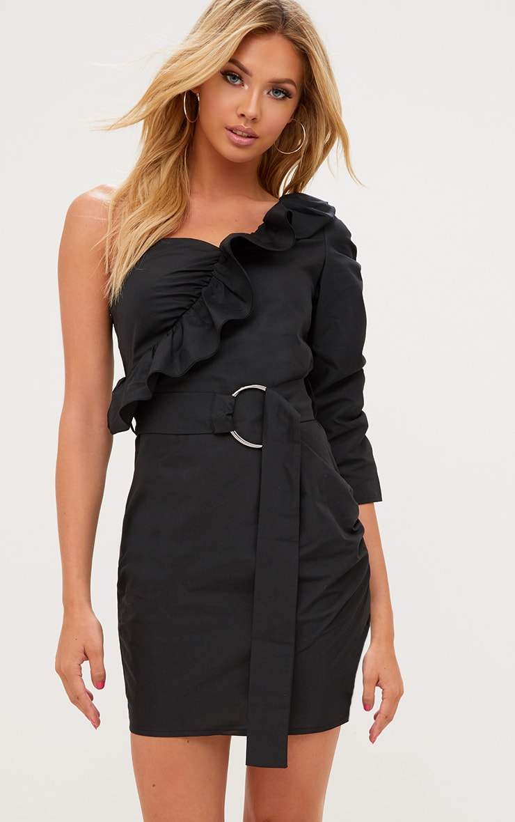 Black One Shoulder Frill Detail O Ring Bodycon Dress 1