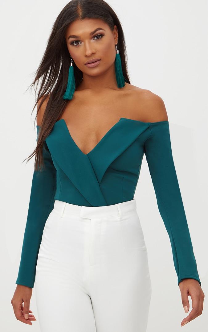 Emerald Green Tux Blazer Detail Bardot Bodysuit