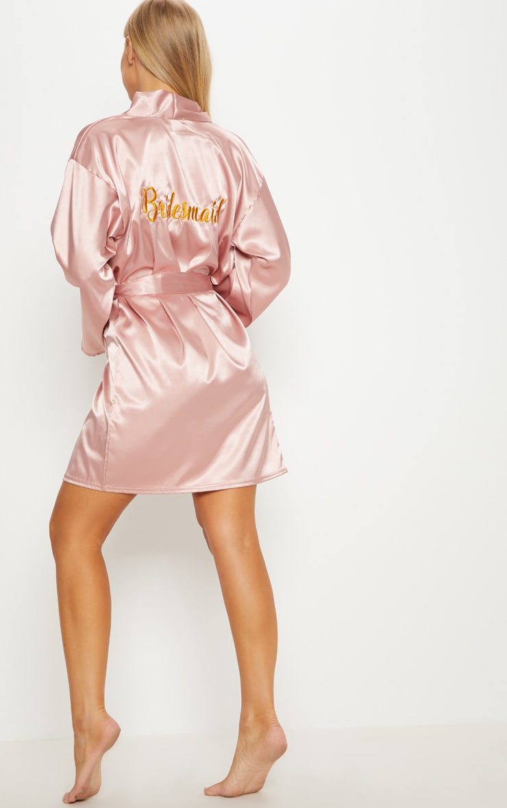 Pale Pink Bridesmaid Embroidered Back Satin Robe 5