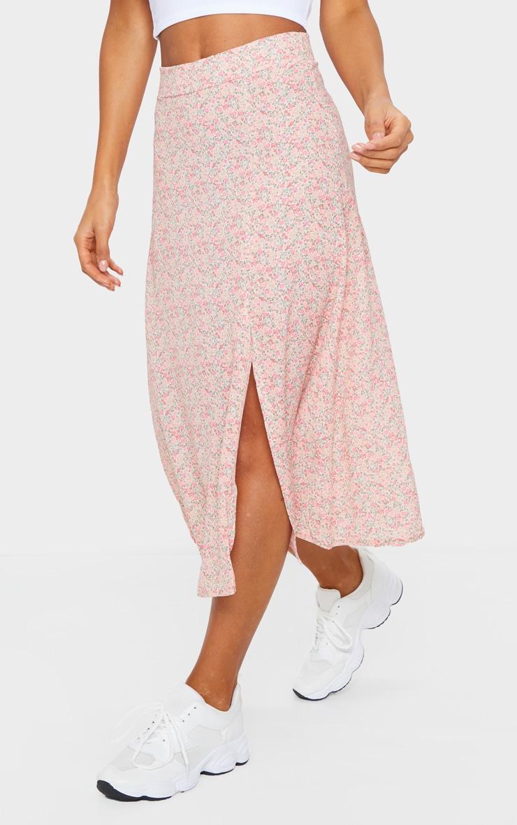 Pink Ditsy Floral Print Floaty Midi Skirt 2