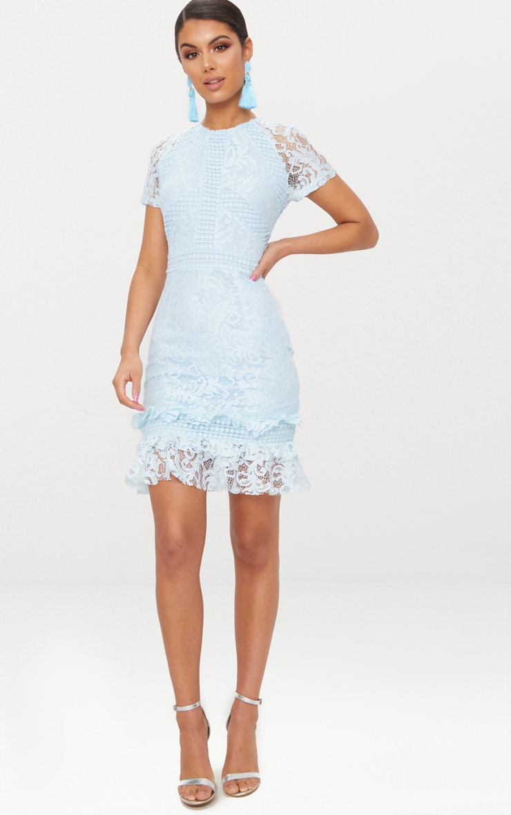Dusty Blue Frill Hem Lace Bodycon Dress 1
