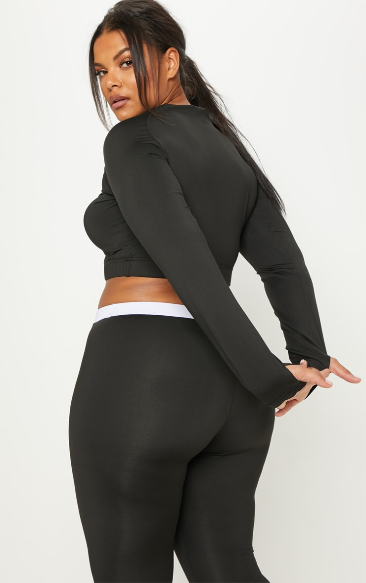 PRETTYLITTLETHING Plus Black Embroidered Long Sleeve Crop Top 2