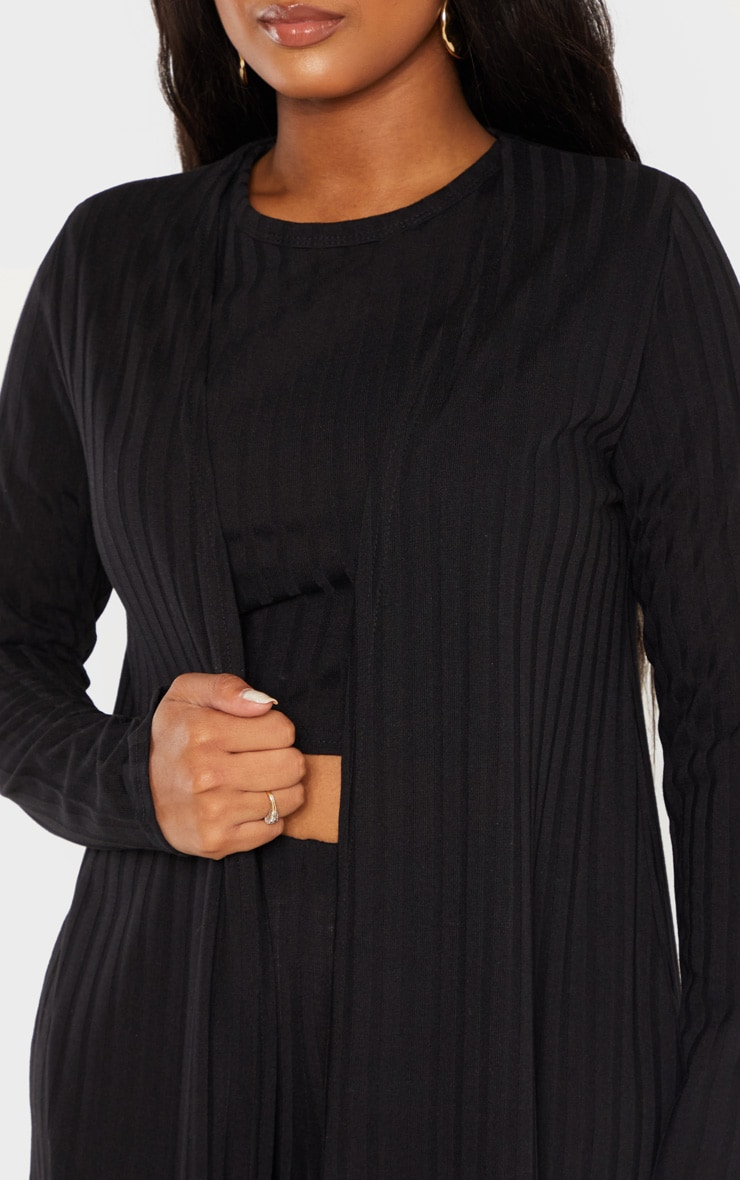 Shape Black Wide Rib Maxi Cardigan 5