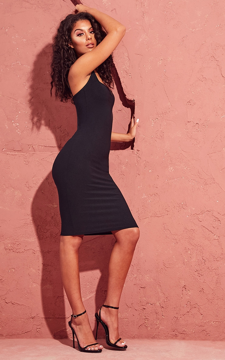 Black Square Neck Strappy Midi Dress 4