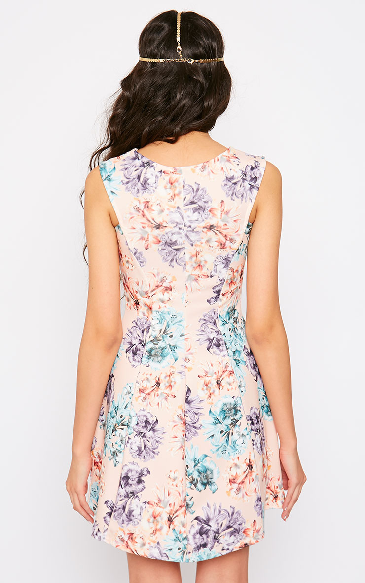 Scarlett Nude Floral Skater Dress 2