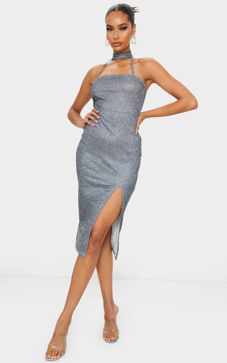 Silver Glitter High Neck Detail Split Midi Dress 1