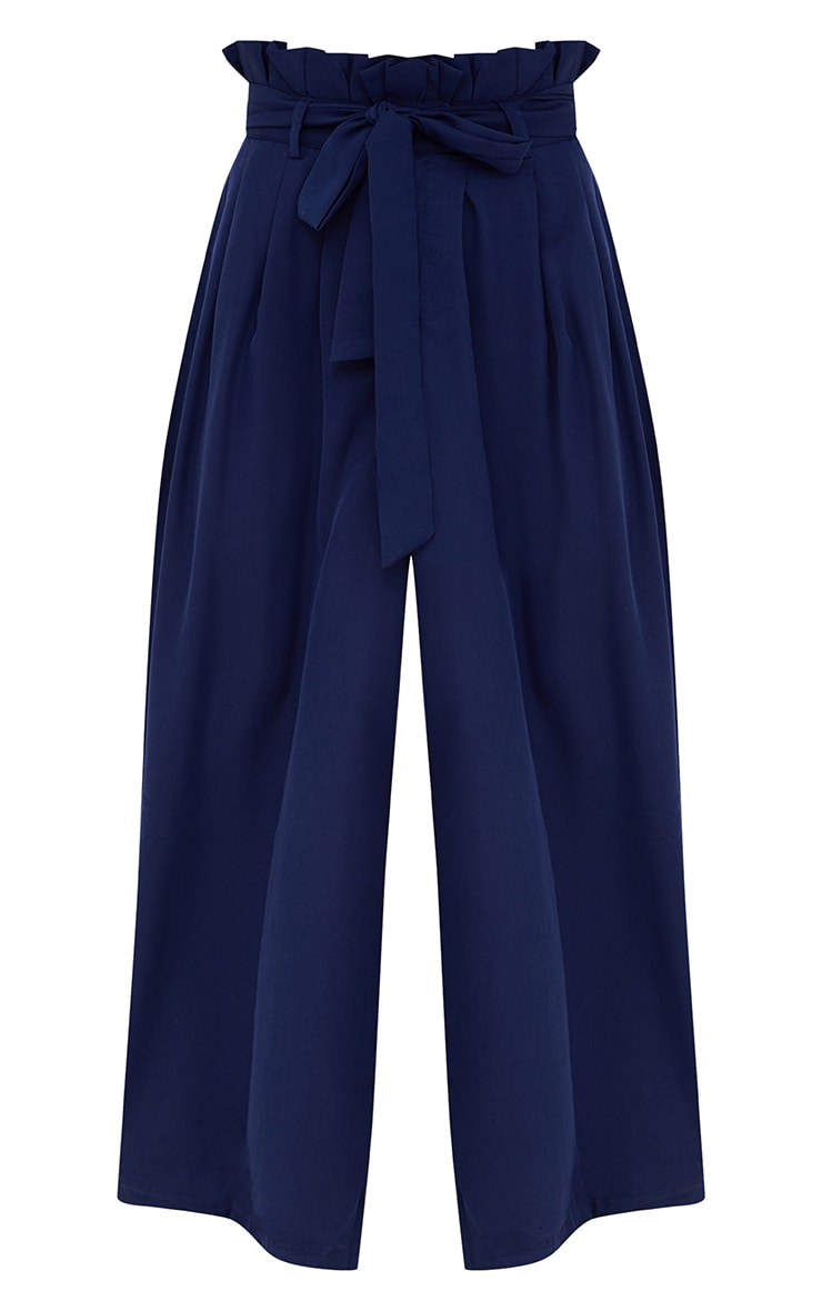 Navy Wide Leg Paperbag Trousers 3
