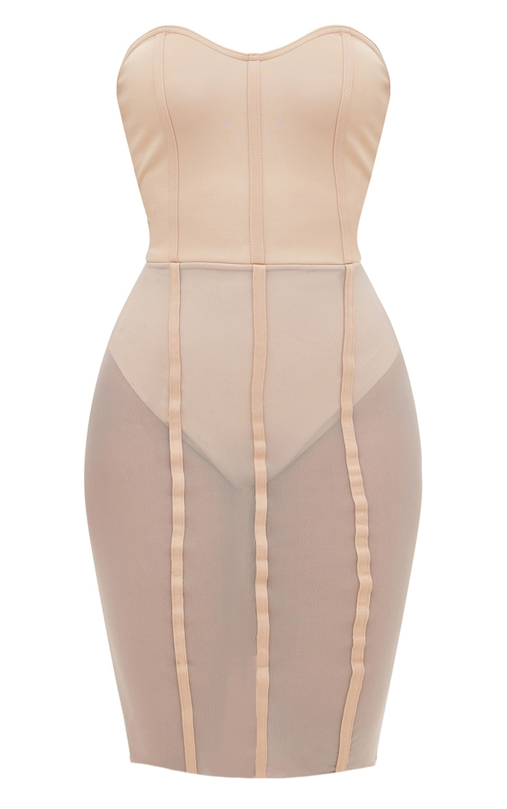 Shape Amaya Nude Bandeau Mesh Insert Dress 3