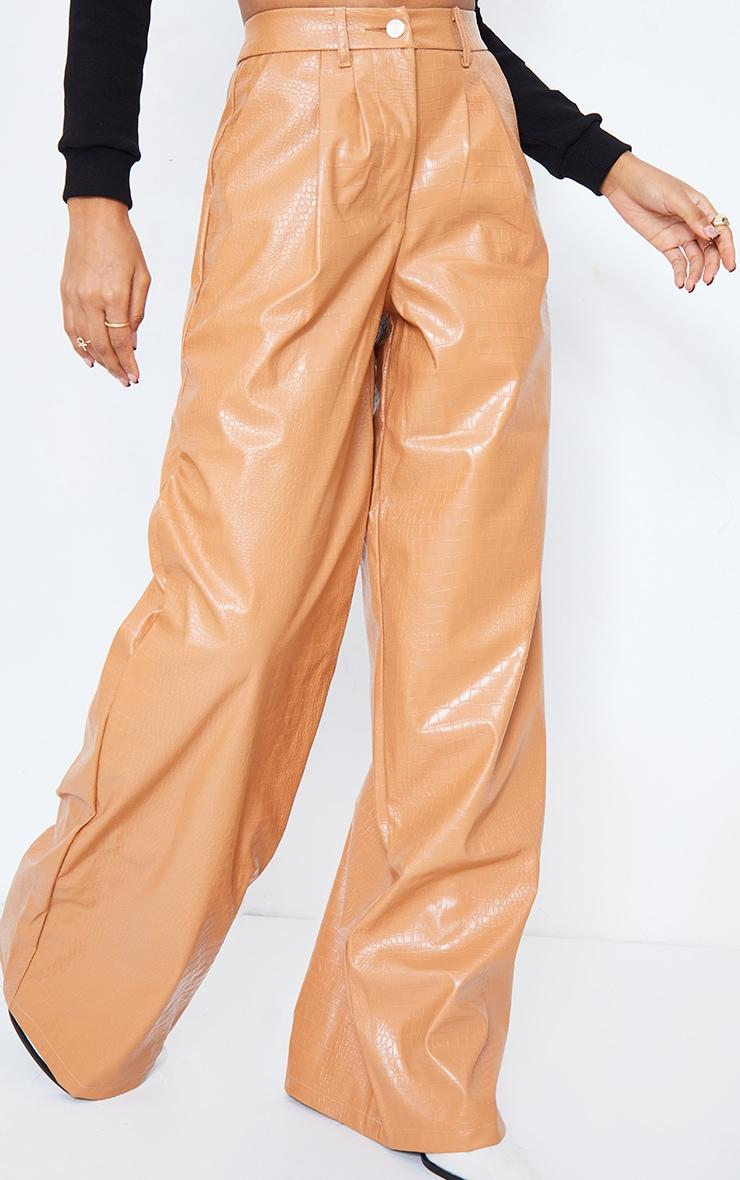 Camel Croc Faux Leather Wide Leg Pants 3