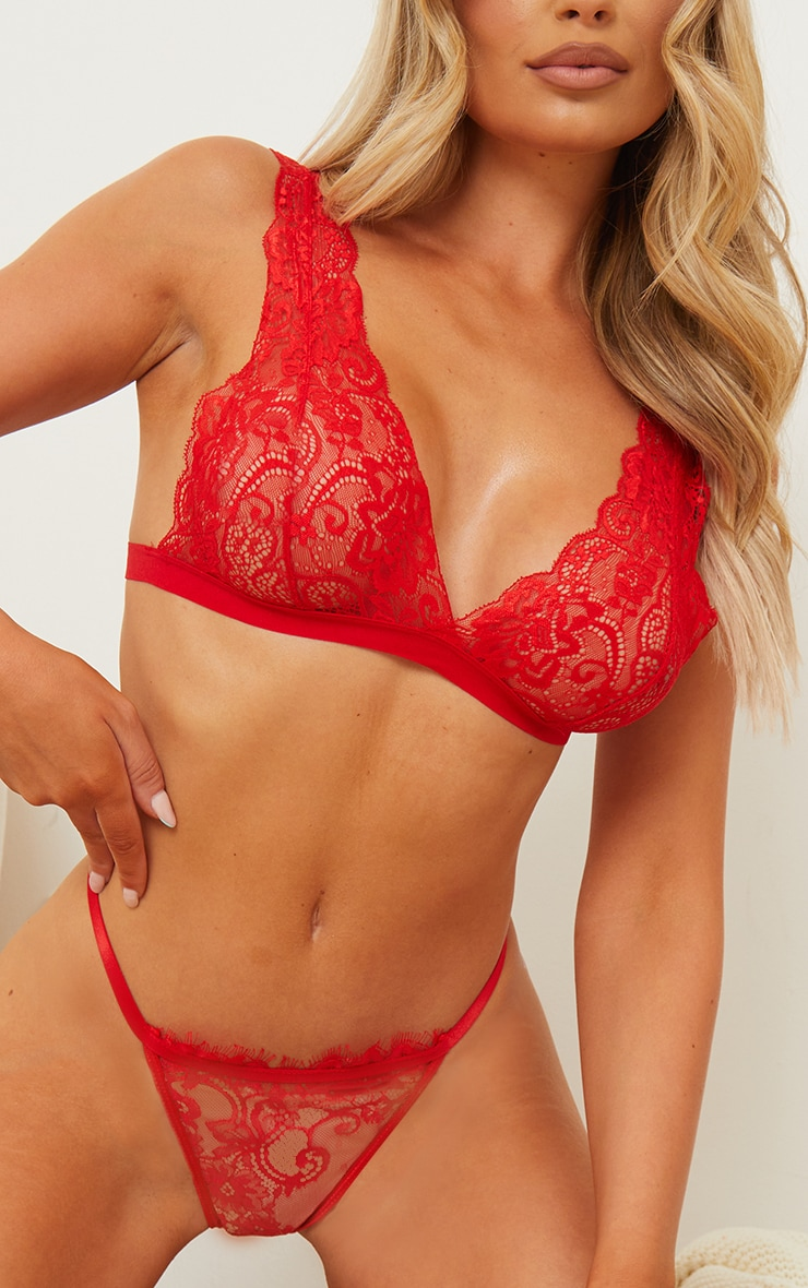 Red Basic Lace Bralet 4