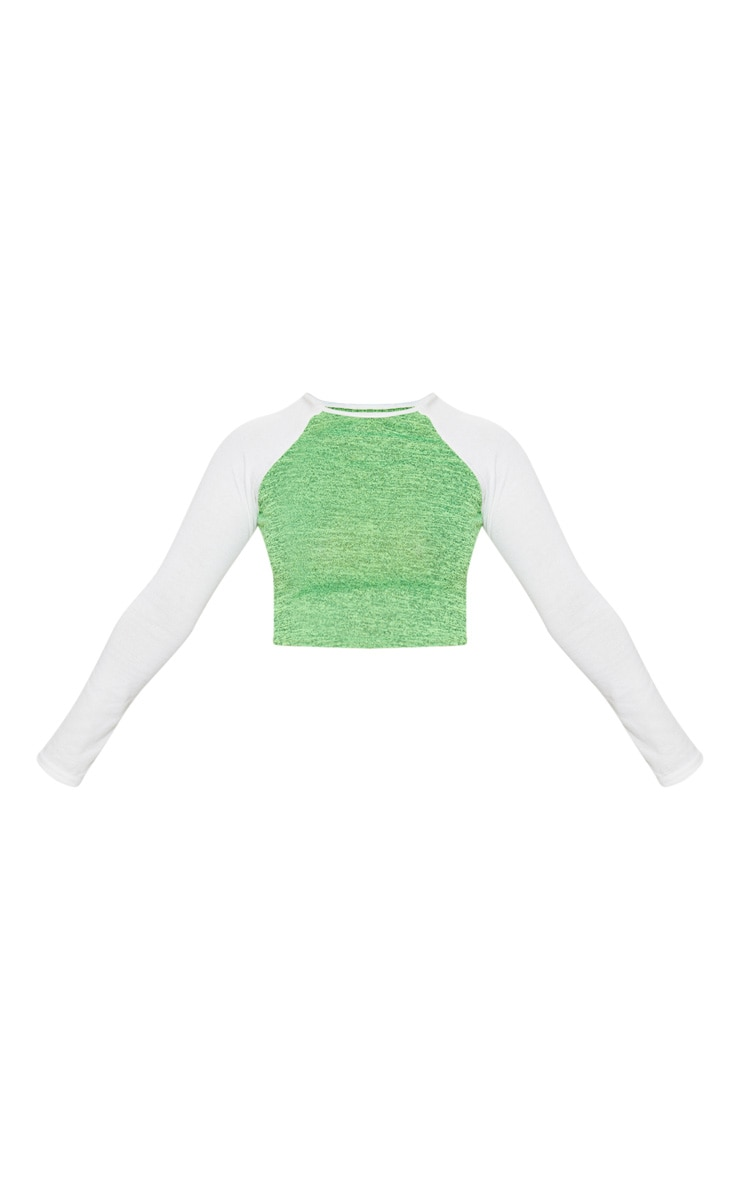 Petite Neon Lime Contrast Long Sleeve Jersey Crop Top 3