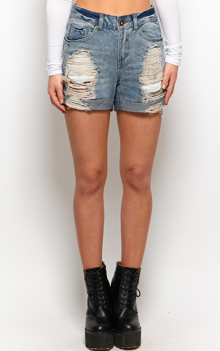 Tansy High Waisted Ripped Denim Shorts 4