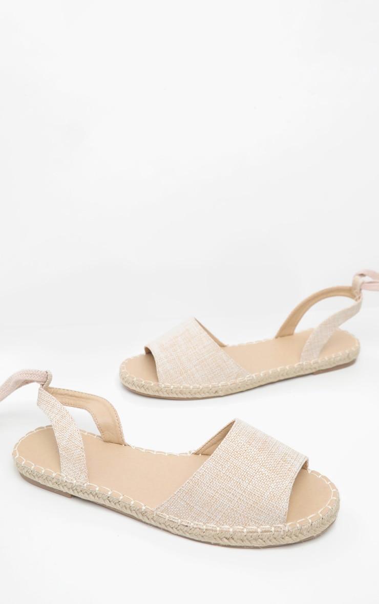 Nude Peeptoe Espadrille Lace Up Flat Sandal 3