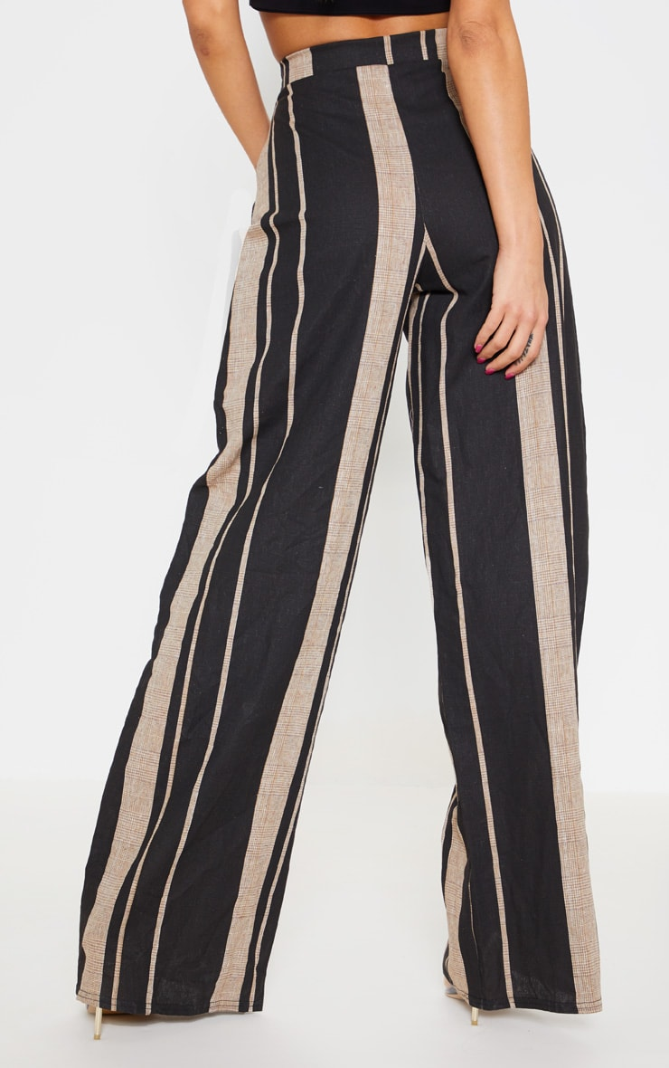 Black Woven Wide Leg Stripe Trouser 4
