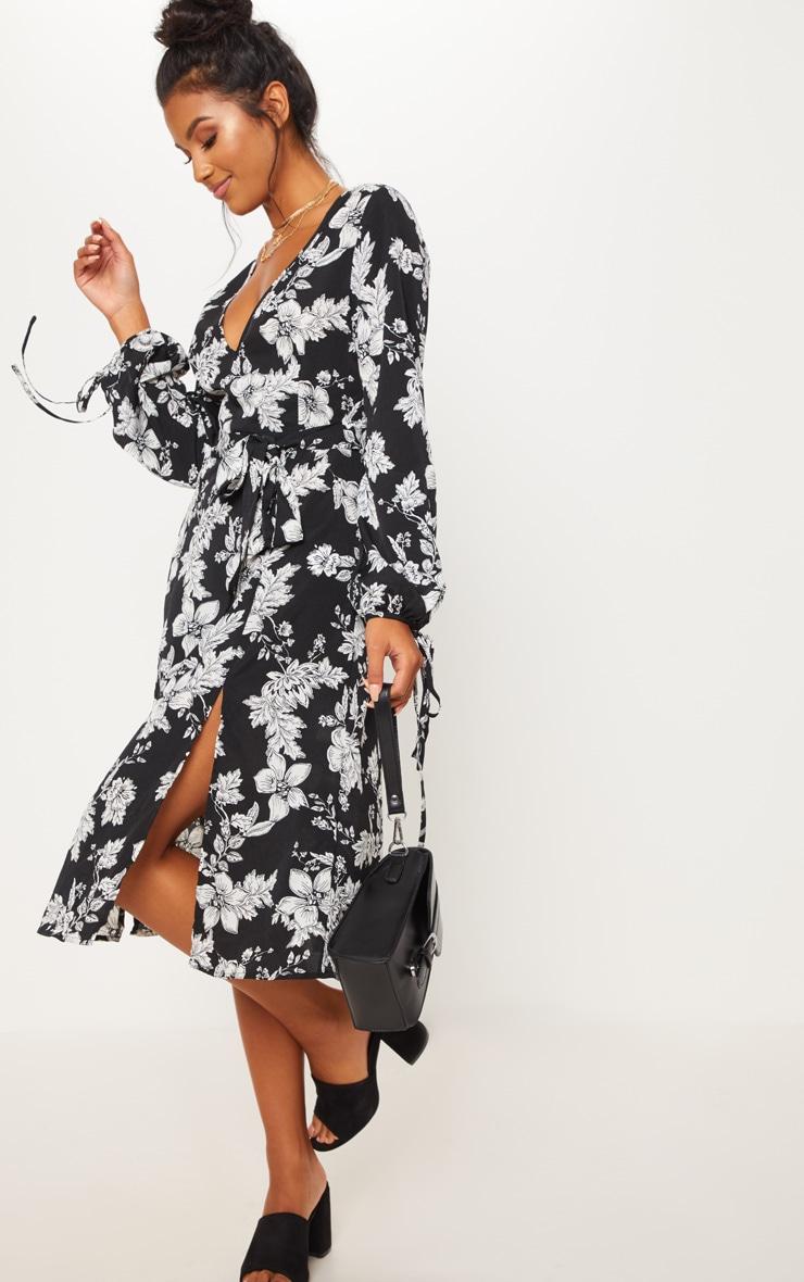 Black Tie Waist Floral Print Split Midi Dress 1