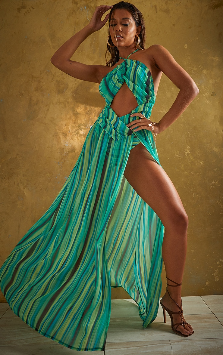 Green Abstract Stripe Chiffon Maxi Beach Dress 1