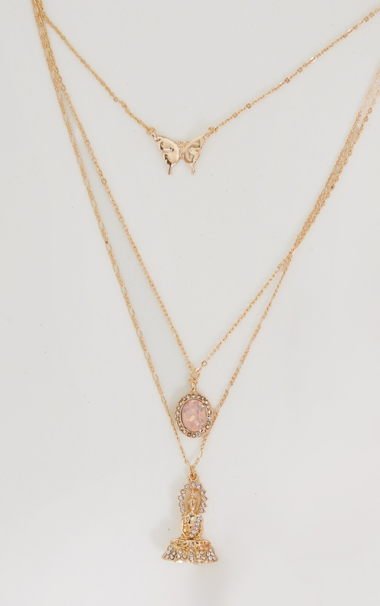 Gold Three Pendant Layering Necklace 4