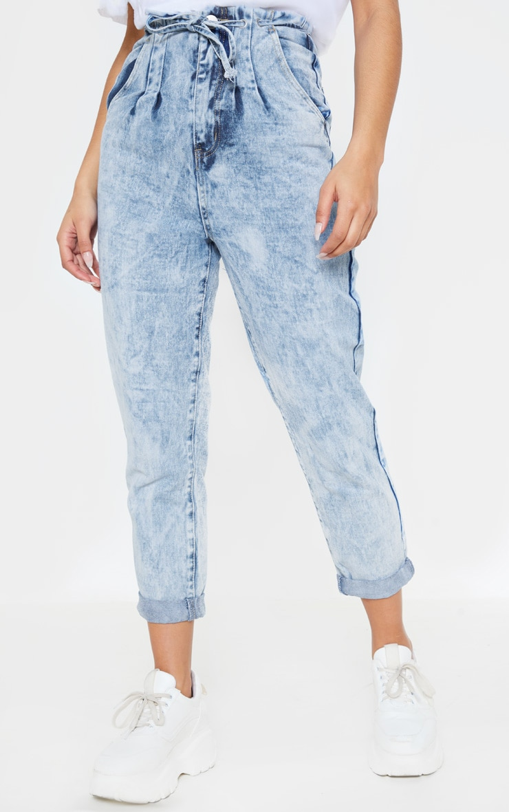 Mid Wash Turn Up Tie Waist Paperbag Jeans  2