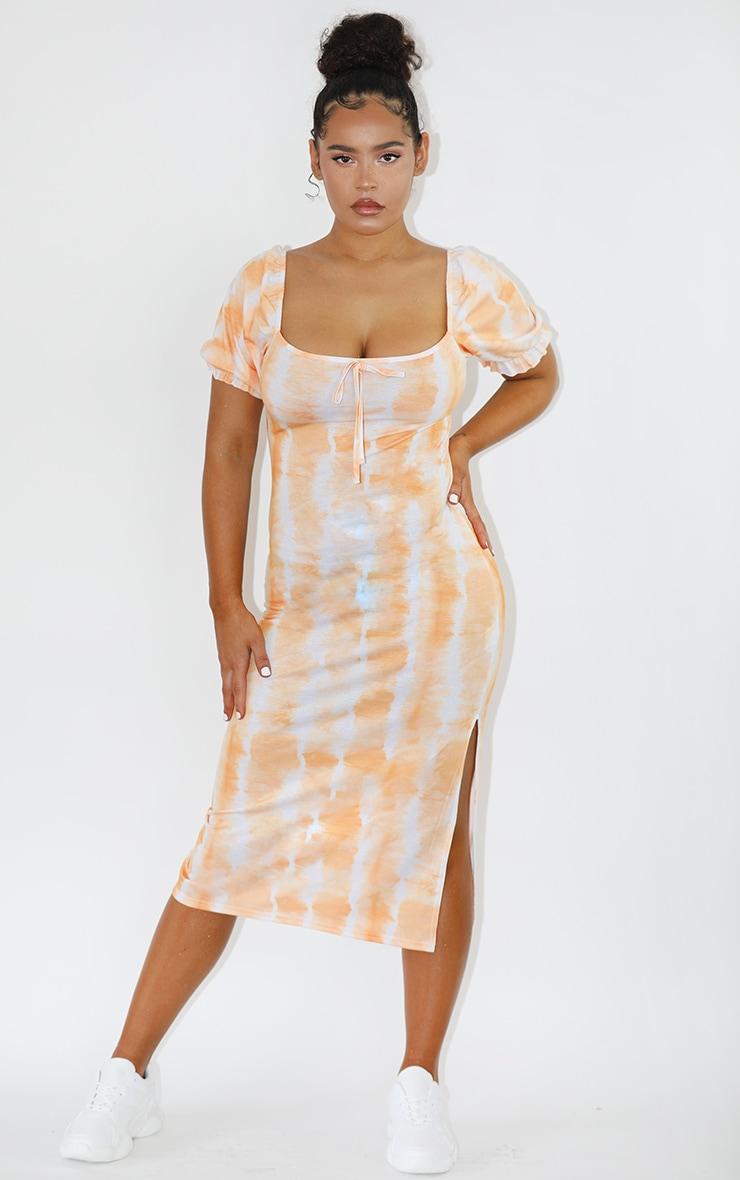 Orange Tie Dye Puff Sleeve Midi Smock Dress 1