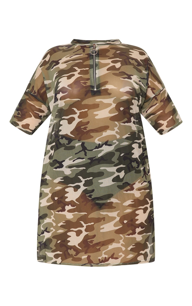 Plus Khaki Camo Mesh Dress 3
