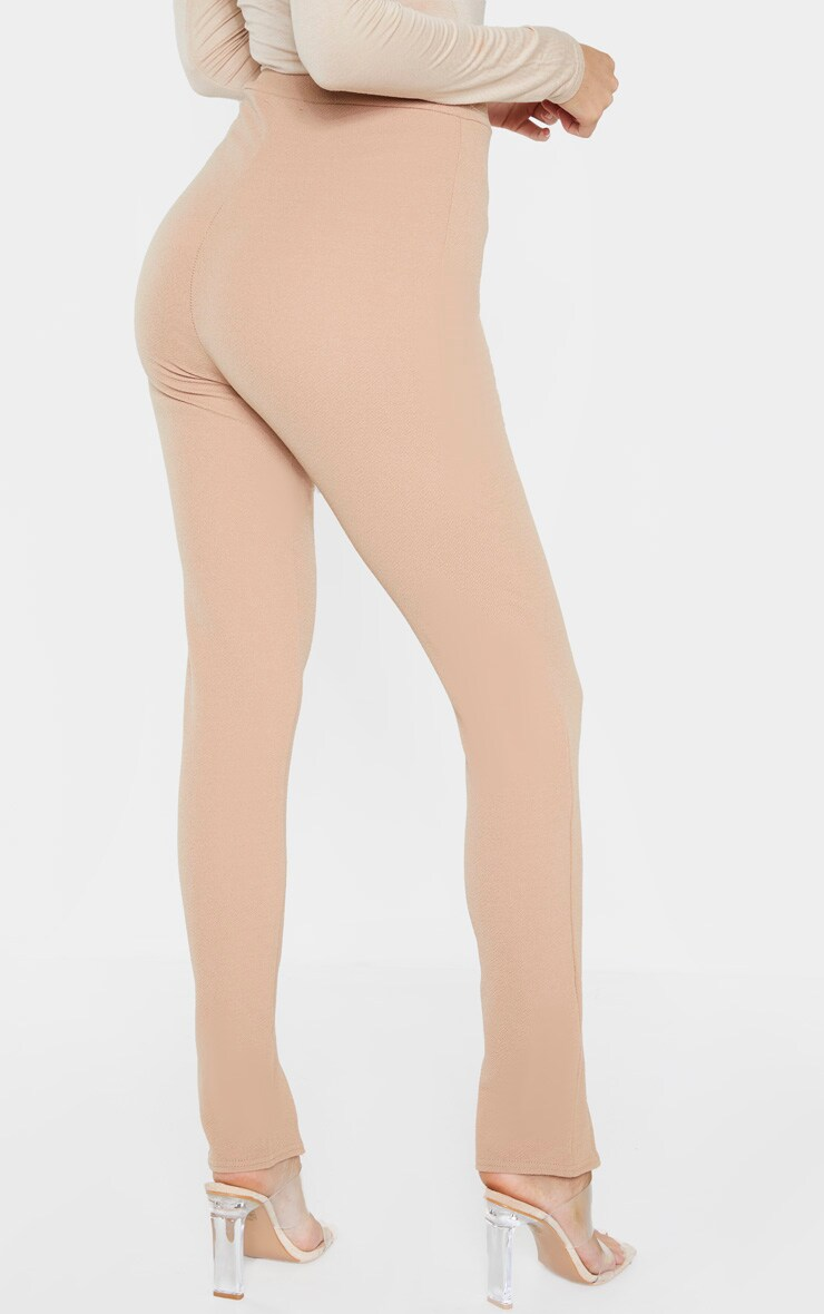 Tall Camel High Waisted Crepe Split Hem Trouser 4