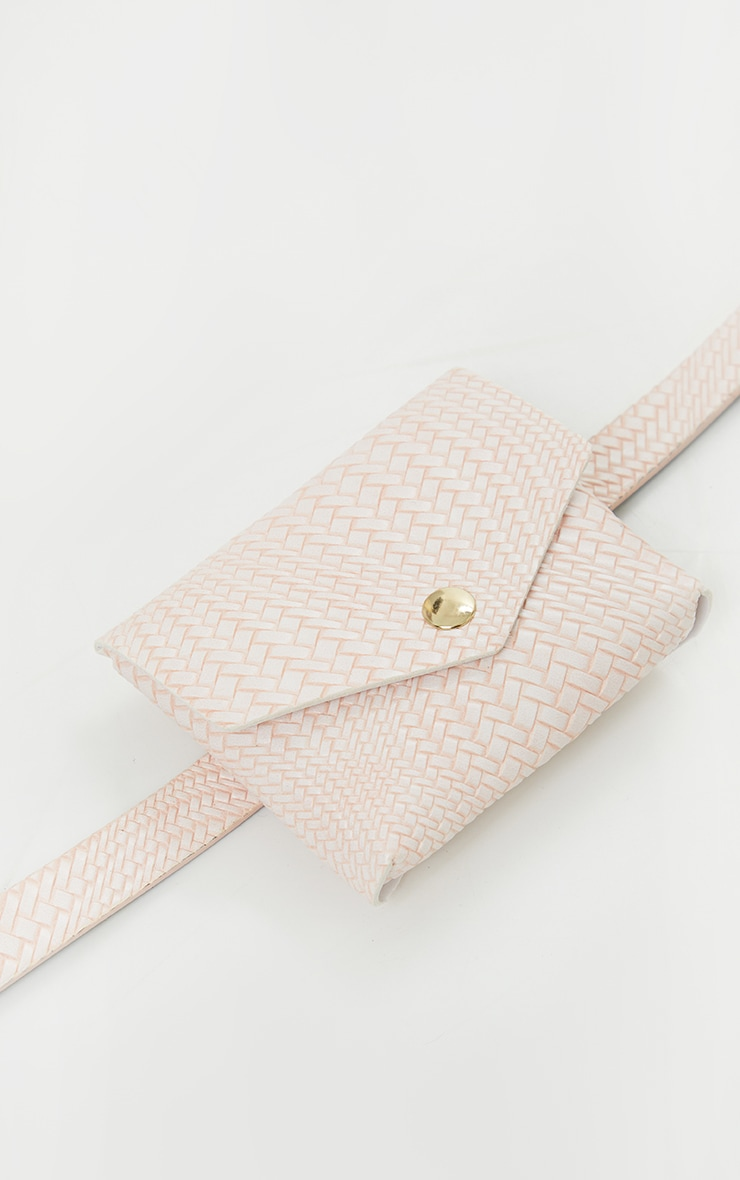 Pink Woven Mini Belt Bag 2