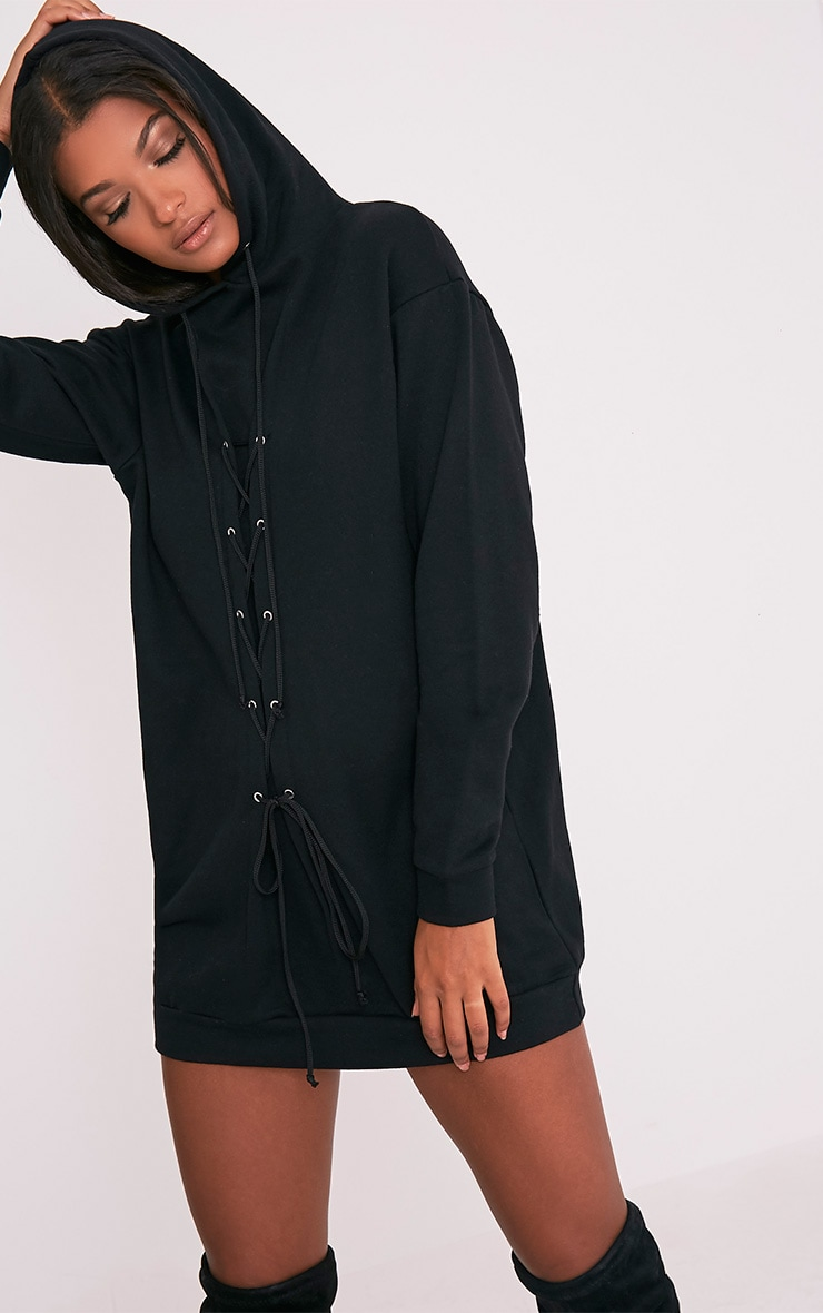 Bexie Black Lace Up Hooded Sweater Dress 6