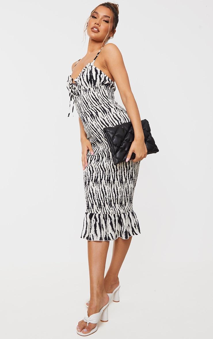 Monochrome Zebra Strappy Tie Detail Shirred Midi Dress 3