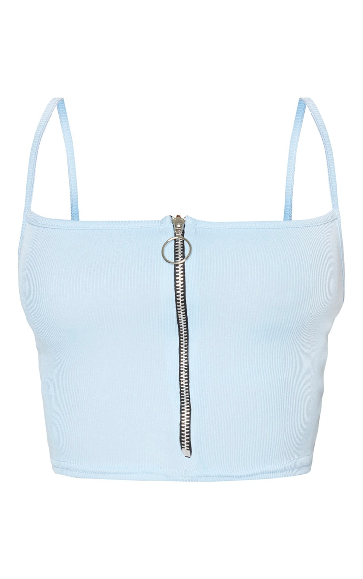 Shape Dusty Blue Ribbed Zip Front Strappy Crop Top 5