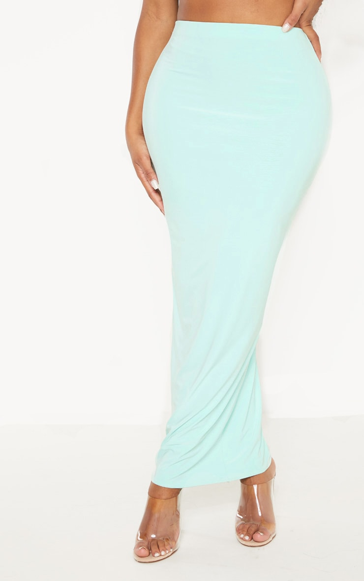 Shape Mint Green Slinky Longline Midaxi Skirt 2