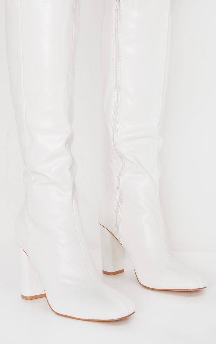 White Round Block Heel Knee High Boots 3
