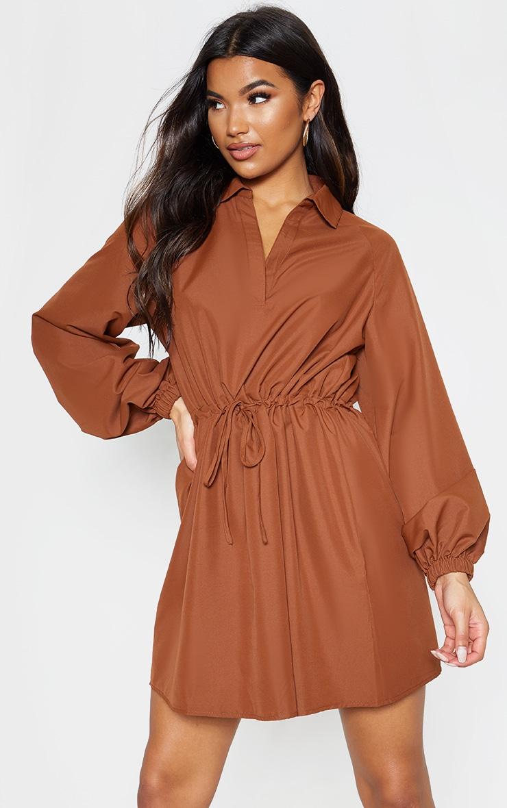 Chocolate Tie Waist Cargo Dress 1