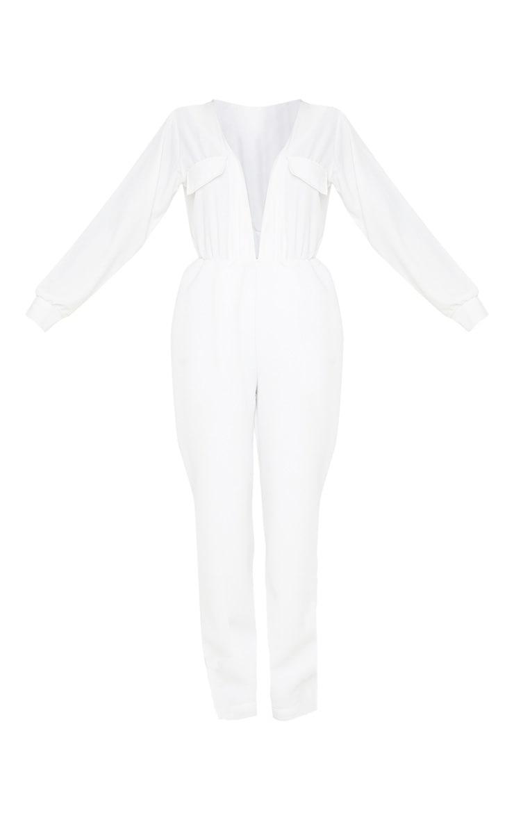 White Pocket Detail Scuba Jumpsuit 3