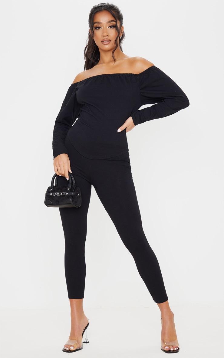Petite Black Corset Long Sleeve Top 2
