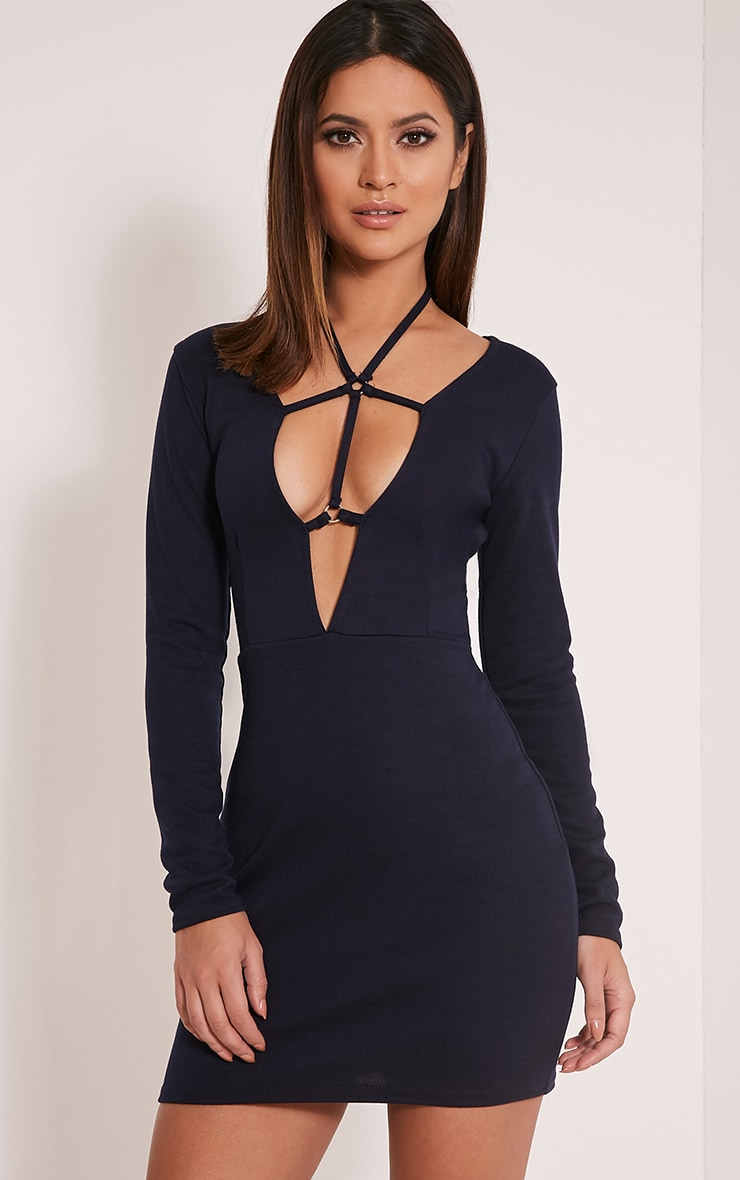 Rudi Navy Harness Bodycon Dress 1