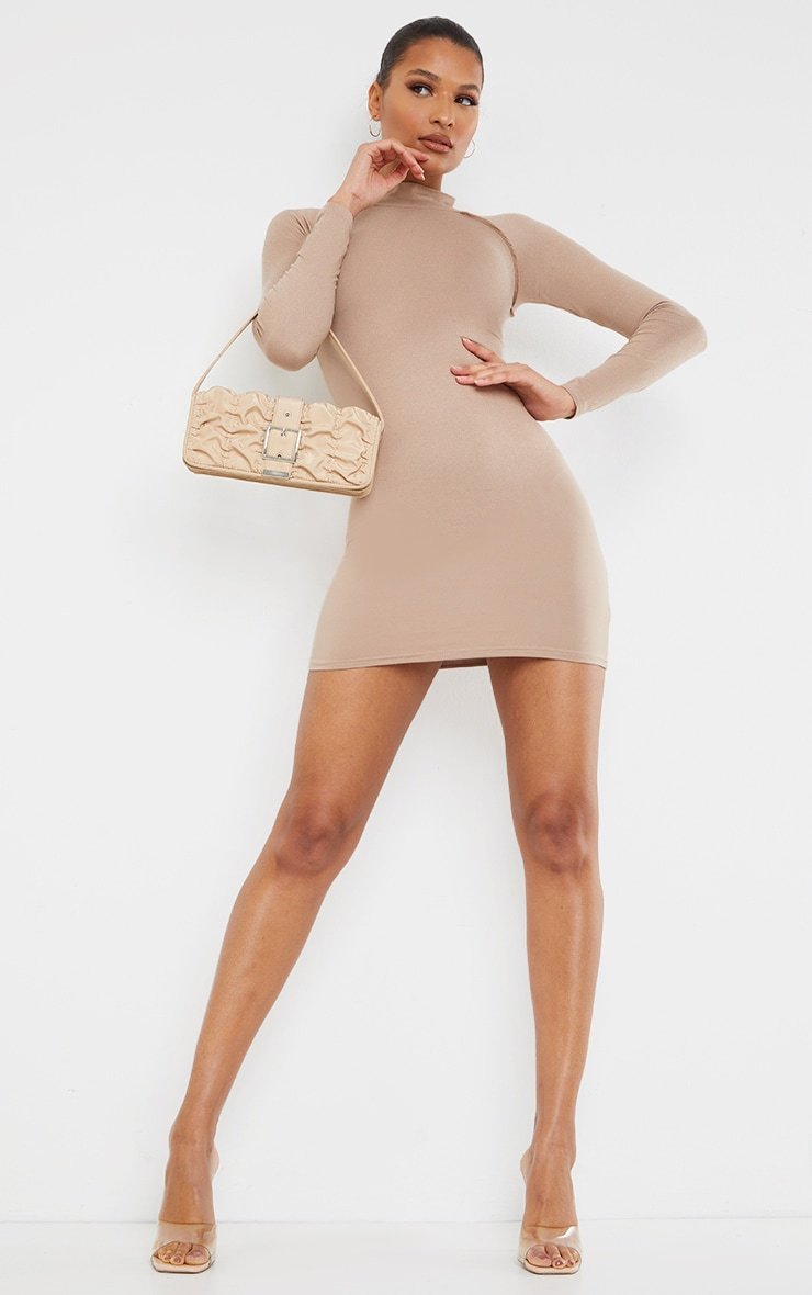 Taupe Long Sleeve Contrast Stitch Armhole Bodycon Dress 3
