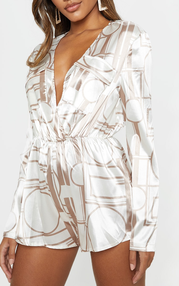 Champagne Chain Print Plunge Playsuit 5