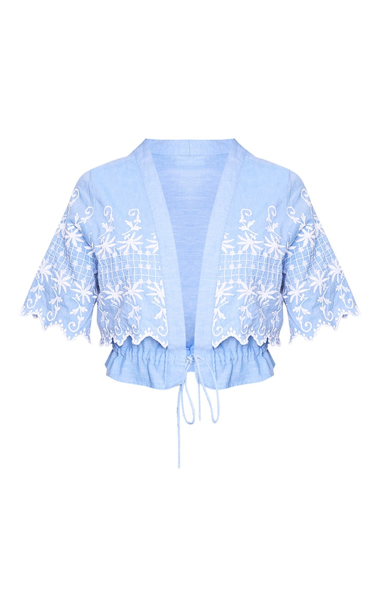 Nylla Blue Chambray Embroidered Tassel Shirt  3