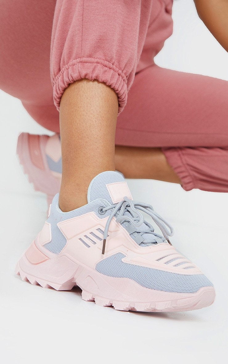 Pink Sports Panel Upper Cleated Chunky Trainers 2